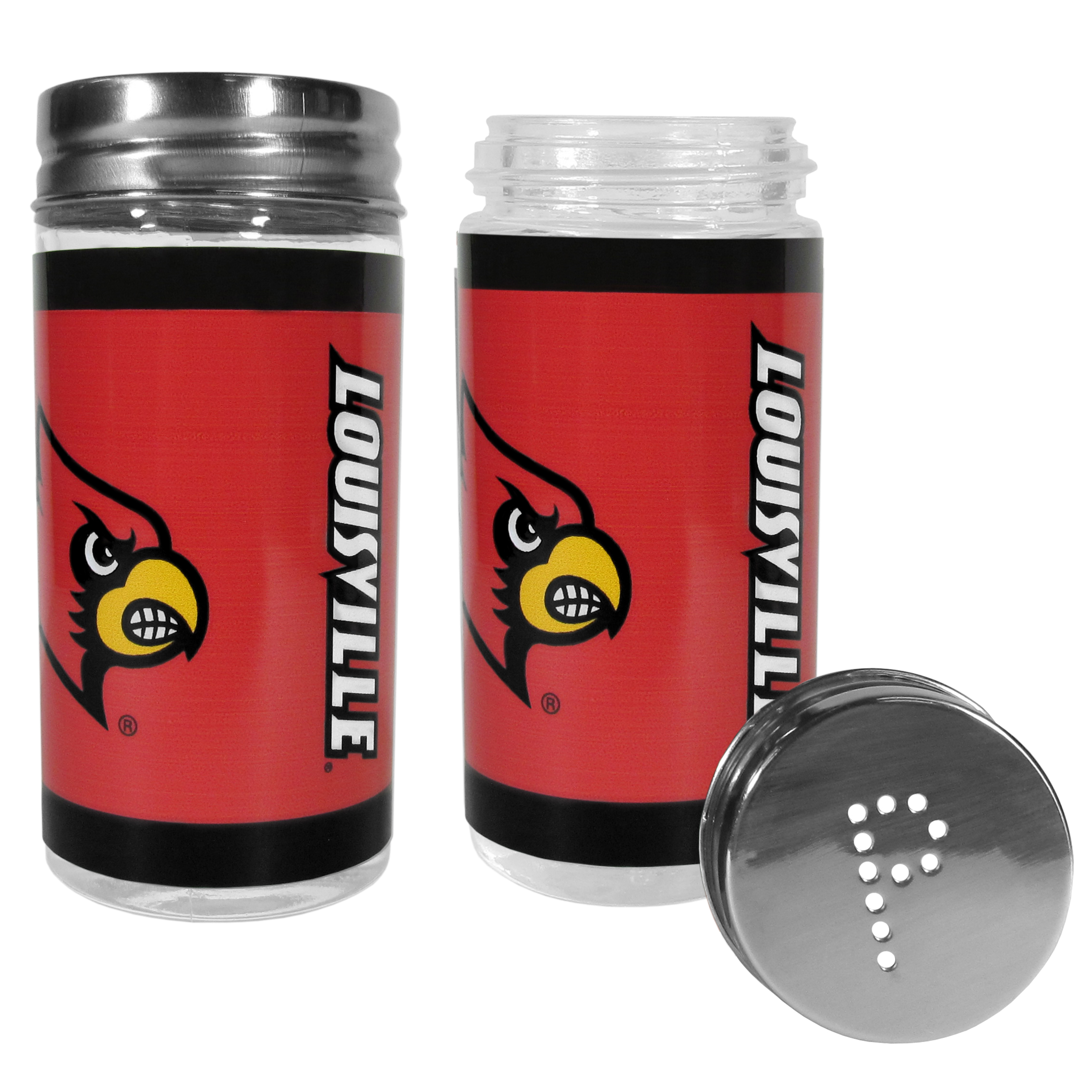 Louisville Cardinals Tailgater Salt & Pepper Shakers - No tailgate party is complete without your Louisville Cardinals salt & pepper shakers featuring bright team graphics. The glass shakers are 3.75 inches tall and the screw top lids have holes that spell out P and S. These team shakers are a great grill accessory whether you are barbecuing on the patio, picnicing or having a game day party.