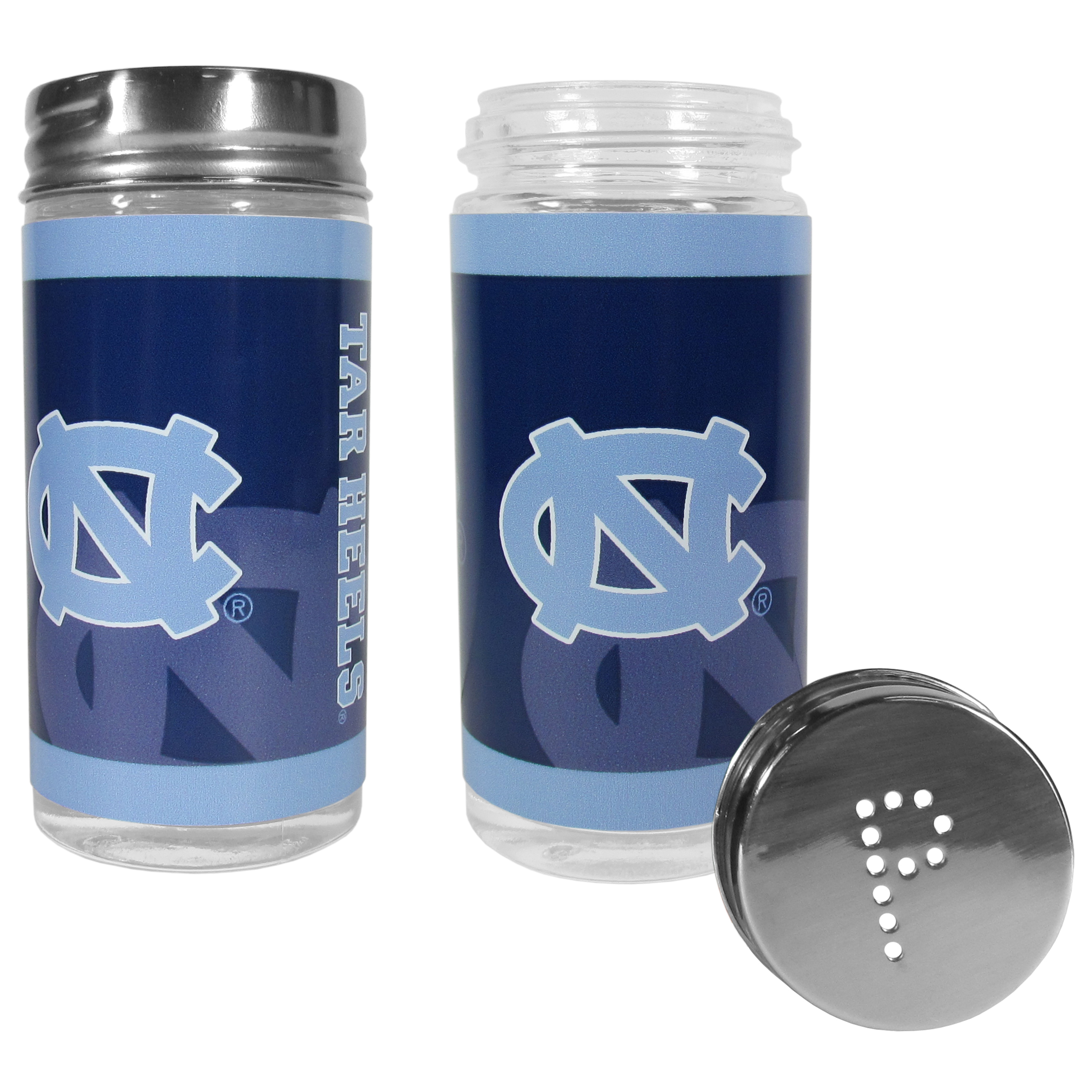 N. Carolina Tar Heels Tailgater Salt and Pepper Shakers - No tailgate party is complete without your N. Carolina Tar Heels salt & pepper shakers featuring bright team graphics. The glass shakers are 3.75 inches tall and the screw top lids have holes that spell out P and S. These team shakers are a great grill accessory whether you are barbecuing on the patio, picnicing or having a game day party.