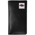 Arkansas Razorbacks Tall Leather Wallet - Our officially licensed tall leather wallet cover is made of high quality leather with a fully cast metal Arkansas Razorbacks emblem with enameled team color detail. The cover fits both side and top loaded checks and includes a large zippered pocket, windowed ID slot, numerous credit card slots and billfold pocket. Thank you for shopping with CrazedOutSports.com