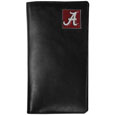 Alabama Crimson Tide Tall Leather Wallet - Our officially licensed tall leather wallet cover is made of high quality leather with a fully cast metal Alabama Crimson Tide emblem with enameled team color detail. The cover fits both side and top loaded checks and includes a large zippered pocket, windowed ID slot, numerous credit card slots and billfold pocket. Thank you for shopping with CrazedOutSports.com