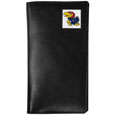 Kansas Jayhawks Tall Leather Wallet - This officially licensed Kansas Jayhawks tall leather wallet cover is made of high quality leather with a fully cast metal Kansas Jayhawksemblem with enameled team color detail. The cover fits both side and top loaded checks and includes a large zippered pocket, windowed ID slot, numerous credit card slots and billfold pocket. Thank you for shopping with CrazedOutSports.com