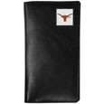 Texas Longhorns Tall Leather Wallet - Our officially licensed tall leather wallet cover is made of high quality leather with a fully cast metal Texas Longhornsemblem with enameled team color detail. The cover fits both side and top loaded checks and includes a large zippered pocket, windowed ID slot, numerous credit card slots and billfold pocket. Thank you for shopping with CrazedOutSports.com