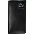 Penn St. Nittany Lions Tall Leather Wallet - Our officially licensed tall leather wallet cover is made of high quality leather with a fully cast metal Penn St. Nittany Lionsemblem with enameled team color detail. The cover fits both side and top loaded checks and includes a large zippered pocket, windowed ID slot, numerous credit card slots and billfold pocket. Thank you for shopping with CrazedOutSports.com