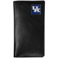 Kentucky Wildcats Tall Leather Wallet - Our officially licensed tall leather wallet cover is made of high quality leather with a fully cast metal Kentucky Wildcatsemblem with enameled team color detail. The cover fits both side and top loaded checks and includes a large zippered pocket, windowed ID slot, numerous credit card slots and billfold pocket. Thank you for shopping with CrazedOutSports.com