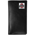 Ohio St. Buckeyes Tall Leather Wallet - Our officially licensed tall leather wallet cover is made of high quality leather with a fully cast metal Ohio St. Buckeyesemblem with enameled team color detail. The cover fits both side and top loaded checks and includes a large zippered pocket, windowed ID slot, numerous credit card slots and billfold pocket. Thank you for shopping with CrazedOutSports.com