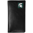 Michigan St. Spartans Tall Leather Wallet - Our officially licensed tall leather wallet cover is made of high quality leather with a fully cast metal Michigan St. Spartansemblem with enameled team color detail. The cover fits both side and top loaded checks and includes a large zippered pocket, windowed ID slot, numerous credit card slots and billfold pocket. Thank you for shopping with CrazedOutSports.com