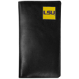 LSU Tigers Tall Leather Wallet - This officially licensed LSU Tigers Tall Leather Wallet is made of high quality leather with a fully cast metal LSU Tigers emblem with enameled team color detail. The LSU Tigers Tall Leather Wallet cover fits both side and top loaded checks and includes a large zippered pocket, windowed ID slot, numerous credit card slots and billfold pocket. Thank you for shopping with CrazedOutSports.com