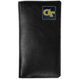 Georgia Tech Yellow Jackets Tall Leather Wallet - Our officially licensed Georgia Tech Yellow Jackets tall leather wallet cover is made of high quality leather with a fully cast metal Georgia Tech Yellow Jackets emblem with enameled team color detail. The cover fits both side and top loaded checks and includes a large zippered pocket, windowed ID slot, numerous credit card slots and billfold pocket. Thank you for shopping with CrazedOutSports.com