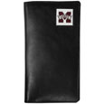 Mississippi St. Bulldogs Tall Leather Wallet - Our officially licensed tall leather wallet cover is made of high quality leather with a fully cast metal Mississippi St. Bulldogsemblem with enameled team color detail. The cover fits both side and top loaded checks and includes a large zippered pocket, windowed ID slot, numerous credit card slots and billfold pocket. Thank you for shopping with CrazedOutSports.com