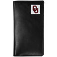 Oklahoma Sooners Tall Leather Wallet - Our officially licensed tall leather wallet cover is made of high quality leather with a fully cast metal Oklahoma Soonersemblem with enameled team color detail. The cover fits both side and top loaded checks and includes a large zippered pocket, windowed ID slot, numerous credit card slots and billfold pocket. Thank you for shopping with CrazedOutSports.com