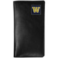 Washington Huskies Tall Leather Wallet - Our officially licensed tall leather wallet cover is made of high quality leather with a fully cast metal Washington Huskiesemblem with enameled team color detail. The cover fits both side and top loaded checks and includes a large zippered pocket, windowed ID slot, numerous credit card slots and billfold pocket. Thank you for shopping with CrazedOutSports.com