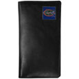 Florida Gators Tall Leather Wallet - Our officially licensed tall leather wallet cover is made of high quality leather with a fully cast metal Florida Gators emblem with enameled team color detail. The cover fits both side and top loaded checks and includes a large zippered pocket, windowed ID slot, numerous credit card slots and billfold pocket. Thank you for shopping with CrazedOutSports.com