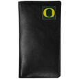 Oregon Ducks Tall Leather Wallet - Our officially licensed tall leather wallet cover is made of high quality leather with a fully cast metal Oregon Ducksemblem with enameled team color detail. The cover fits both side and top loaded checks and includes a large zippered pocket, windowed ID slot, numerous credit card slots and billfold pocket. Thank you for shopping with CrazedOutSports.com