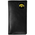 Iowa Hawkeyes Tall Leather Wallet - This officially licensed Iowa Hawkeyes tall leather wallet cover is made of high quality leather with a fully cast metal Iowa Hawkeyesemblem with enameled team color detail. The cover fits both side and top loaded checks and includes a large zippered pocket, windowed ID slot, numerous credit card slots and billfold pocket. Thank you for shopping with CrazedOutSports.com
