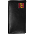 USC Trojans Tall Leather Wallet - Our officially licensed tall leather wallet cover is made of high quality leather with a fully cast metal USC Trojansemblem with enameled team color detail. The cover fits both side and top loaded checks and includes a large zippered pocket, windowed ID slot, numerous credit card slots and billfold pocket. Thank you for shopping with CrazedOutSports.com