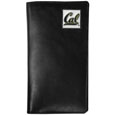 Cal Berkeley Bears Tall Leather Wallet - Our officially licensed tall leather wallet cover is made of high quality leather with a fully cast metal Cal Berkeley Bears emblem with enameled team color detail. The cover fits both side and top loaded checks and includes a large zippered pocket, windowed ID slot, numerous credit card slots and billfold pocket. Thank you for shopping with CrazedOutSports.com