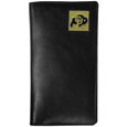 Colorado Buffaloes Tall Leather Wallet - Our officially licensed tall leather wallet cover is made of high quality leather with a fully cast metal Colorado Buffaloes emblem with enameled team color detail. The cover fits both side and top loaded checks and includes a large zippered pocket, windowed ID slot, numerous credit card slots and billfold pocket. Thank you for shopping with CrazedOutSports.com