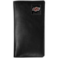 Oklahoma St. Cowboys Tall Leather Wallet - Our officially licensed tall leather wallet cover is made of high quality leather with a fully cast metal Oklahoma St. Cowboysemblem with enameled team color detail. The cover fits both side and top loaded checks and includes a large zippered pocket, windowed ID slot, numerous credit card slots and billfold pocket. Thank you for shopping with CrazedOutSports.com