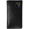 W. Virginia Mountaineers Tall Leather Wallet - Our officially licensed tall leather wallet cover is made of high quality leather with a fully cast metal W. Virginia Mountaineersemblem with enameled team color detail. The cover fits both side and top loaded checks and includes a large zippered pocket, windowed ID slot, numerous credit card slots and billfold pocket. Thank you for shopping with CrazedOutSports.com
