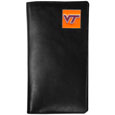 Virginia Tech Hokies Tall Leather Wallet - Our officially licensed tall leather wallet cover is made of high quality leather with a fully cast metal Virginia Tech Hokiesemblem with enameled team color detail. The cover fits both side and top loaded checks and includes a large zippered pocket, windowed ID slot, numerous credit card slots and billfold pocket. Thank you for shopping with CrazedOutSports.com