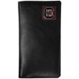 S. Carolina Gamecocks Tall Leather Wallet - Our officially licensed tall leather wallet cover is made of high quality leather with a fully cast metal S. Carolina Gamecocksemblem with enameled team color detail. The cover fits both side and top loaded checks and includes a large zippered pocket, windowed ID slot, numerous credit card slots and billfold pocket. Thank you for shopping with CrazedOutSports.com
