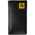 Arizona St. Sun Devils Tall Leather Wallet - Our officially licensed tall leather wallet cover is made of high quality leather with a fully cast metal Arizona State Sun Devils emblem with enameled team color detail. The cover fits both side and top loaded checks and includes a large zippered pocket, windowed ID slot, numerous credit card slots and billfold pocket. Thank you for shopping with CrazedOutSports.com