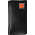 Clemson Tigers Tall Leather Wallet - Our officially licensed tall leather wallet cover is made of high quality leather with a fully cast metal Clemson Tigers emblem with enameled team color detail. The cover fits both side and top loaded checks and includes a large zippered pocket, windowed ID slot, numerous credit card slots and billfold pocket. Thank you for shopping with CrazedOutSports.com