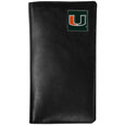 Miami Hurricanes Tall Leather Wallet - This officially licensed Miami Hurricanes tall leather wallet cover is made of high quality leather with a fully cast metal Miami Hurricanes emblem with enameled team color detail. The Miami Hurricanes Tall Leather Wallet cover fits both side and top loaded checks and includes a large zippered pocket, windowed ID slot, numerous credit card slots and billfold pocket. Thank you for shopping with CrazedOutSports.com