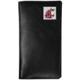 Washington St. Cougars Tall Leather Wallet - Our officially licensed tall leather wallet cover is made of high quality leather with a fully cast metal Washington St. Cougarsemblem with enameled team color detail. The cover fits both side and top loaded checks and includes a large zippered pocket, windowed ID slot, numerous credit card slots and billfold pocket. Thank you for shopping with CrazedOutSports.com