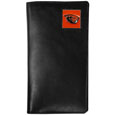 Oregon St. Beavers Tall Leather Wallet - Our officially licensed tall leather wallet cover is made of high quality leather with a fully cast metal Oregon St. Beaversemblem with enameled team color detail. The cover fits both side and top loaded checks and includes a large zippered pocket, windowed ID slot, numerous credit card slots and billfold pocket. Thank you for shopping with CrazedOutSports.com