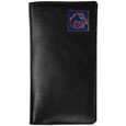 Boise St. Broncos Tall Leather Wallet - Our officially licensed tall leather wallet cover is made of high quality leather with a fully cast metal Boise St. Broncos emblem with enameled team color detail. The cover fits both side and top loaded checks and includes a large zippered pocket, windowed ID slot, numerous credit card slots and billfold pocket. Thank you for shopping with CrazedOutSports.com