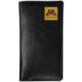 Minnesota Golden Gophers  Tall Leather Wallet - Officially licensed Minnesota Golden Gophers Tall Leather Wallet is made of high quality leather with a fully cast metal Minnesota Golden Gophers emblem with enameled team color detail. The Minnesota Golden Gophers  Tall Leather Wallet checkbook cover fits both side and top loaded checks and includes a large zippered pocket, windowed ID slot, numerous credit card slots and billfold pocket. Thank you for shopping with CrazedOutSports.com