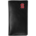 N. Carolina St. Wolfpack  Tall Leather Wallet - Our officially licensed tall leather wallet cover is made of high quality leather with a fully cast metal N. Carolina St. Wolfpack emblem with enameled team color detail. The cover fits both side and top loaded checks and includes a large zippered pocket, windowed ID slot, numerous credit card slots and billfold pocket. Thank you for shopping with CrazedOutSports.com
