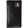 Florida St. Seminoles Tall Leather Wallet - Our officially licensed tall leather wallet cover is made of high quality leather with a fully cast metal Florida St. Seminolesemblem with enameled team color detail. The cover fits both side and top loaded checks and includes a large zippered pocket, windowed ID slot, numerous credit card slots and billfold pocket. Thank you for shopping with CrazedOutSports.com