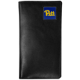 PITT Panthers Tall Leather Wallet - Our officially licensed tall leather wallet cover is made of high quality leather with a fully cast metal PITT Panthersemblem with enameled team color detail. The cover fits both side and top loaded checks and includes a large zippered pocket, windowed ID slot, numerous credit card slots and billfold pocket. Thank you for shopping with CrazedOutSports.com