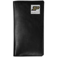 Purdue Boilermakers Tall Leather Wallet - Our officially licensed tall leather wallet cover is made of high quality leather with a fully cast metal Purdue Boilermakersemblem with enameled team color detail. The cover fits both side and top loaded checks and includes a large zippered pocket, windowed ID slot, numerous credit card slots and billfold pocket. Thank you for shopping with CrazedOutSports.com