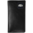 BYU Cougars Tall Leather Wallet - Our officially licensed tall leather wallet cover is made of high quality leather with a fully cast metal BYU Cougars emblem with enameled team color detail. The cover fits both side and top loaded checks and includes a large zippered pocket, windowed ID slot, numerous credit card slots and billfold pocket. Thank you for shopping with CrazedOutSports.com