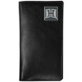 Hawaii Rainbow Warriors Tall Leather Wallet - This officially licensed Hawaii Rainbow Warriors tall leather wallet cover is made of high quality leather with a fully cast metal Hawaii Warriorsemblem with enameled team color detail. The cover fits both side and top loaded checks and includes a large zippered pocket, windowed ID slot, numerous credit card slots and billfold pocket. Thank you for shopping with CrazedOutSports.com