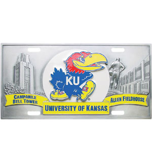 "College License Plate - Kansas Jayhawks - Kansas Jayhawks collegiate license plates feature exceptional 3D carved zinc with a hand enameled finish. Made for your automobile but also great to display at work or home. 11 3/4"" X 5 13/16"" Thank you for shopping with CrazedOutSports.com"