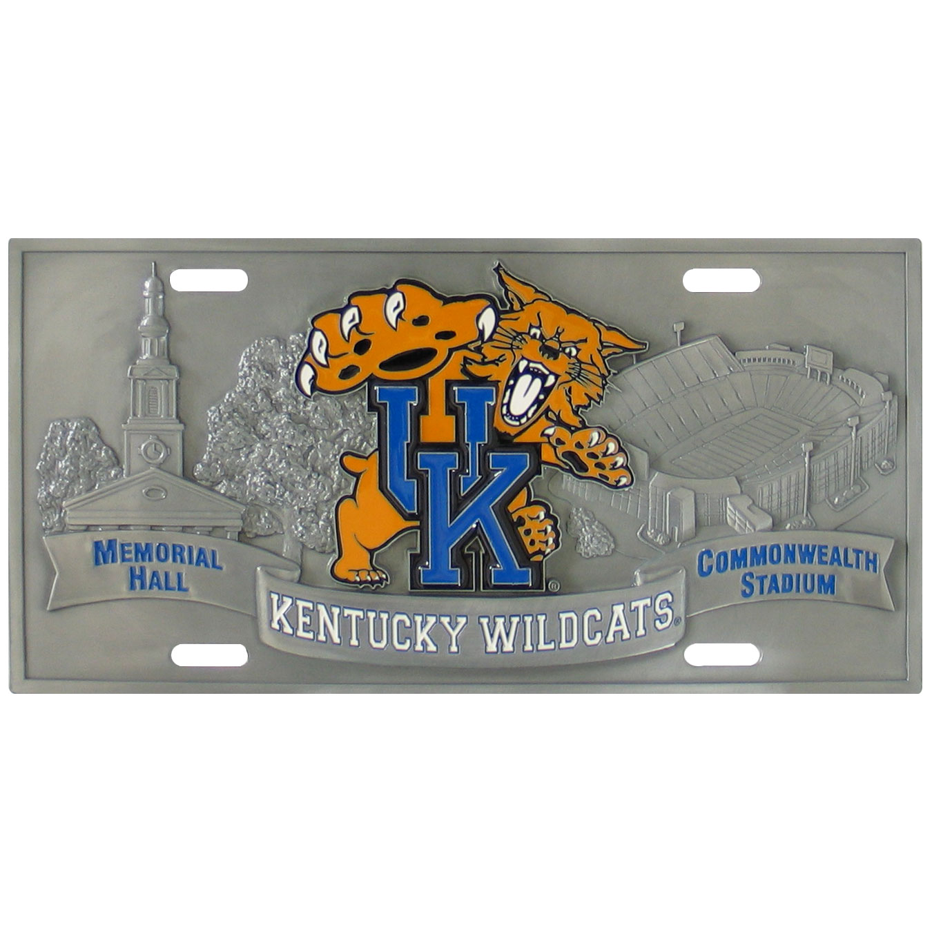 "Kentucky Wildcats - 3D License Plate - Kentucky Wildcats three dimensional license plate. Made for your automobile but also great to display at work or home. 11 3/4"" X 5 13/16""  Thank you for shopping with CrazedOutSports.com"