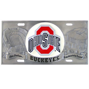 "Ohio St Buckeyes - 3D License Plate - Ohio State Buckeyes three dimensional license plate. Made for your automobile but also great to display at work or home. 11 3/4"" X 5 13/16"" Thank you for shopping with CrazedOutSports.com"