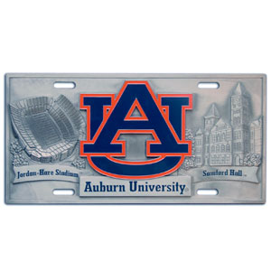 "Auburn Tigers - 3D License Plate - Auburn Tigers three dimensional license plate. Made for your automobile but also great to display at home or work. 11 3/4"" X 5 13/16"" Thank you for shopping with CrazedOutSports.com"