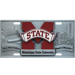"College License Plate - Mississippi St. Bulldogs - Our collegiate license plates feature exceptional 3D carved zinc with a hand enameled finish. Made for your automobile but also great to display at work or home. 11 3/4"" X 5 13/16"" Thank you for shopping with CrazedOutSports.com"
