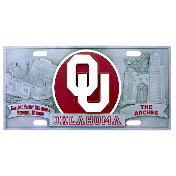 "Oklahoma - 3D License Plate - Oklahoma Sooners three dimensional license plate. Made for your automobile but also great to display at work or home.  11 3/4"" X 5 13/16"" Thank you for shopping with CrazedOutSports.com"