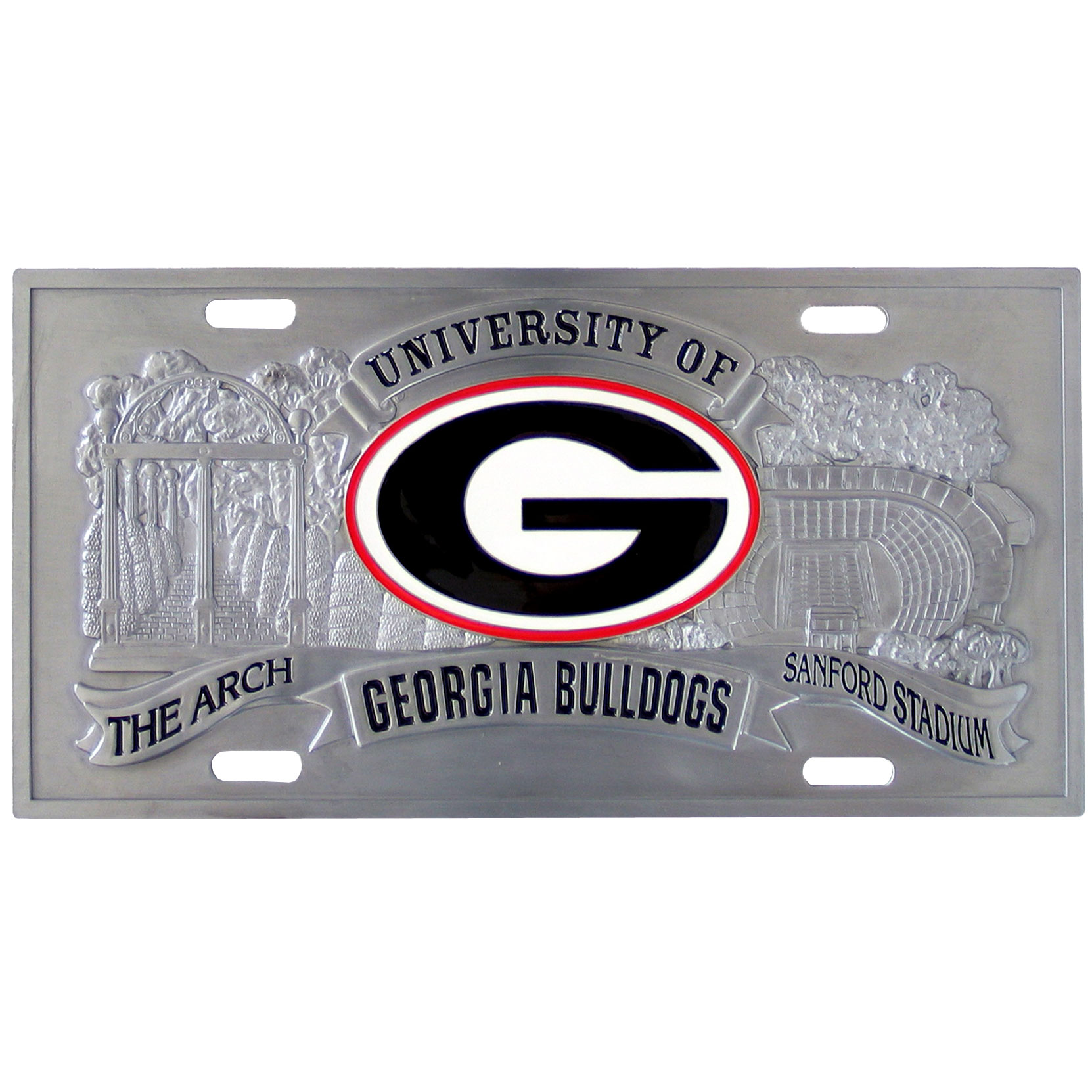 "Georgia Bulldogs - 3D License Plate - Georgia Bulldogs three dimensional license plate. Made for your automobile but also great to display at work or home.  11 3/4"" X 5 13/16"" Thank you for shopping with CrazedOutSports.com"