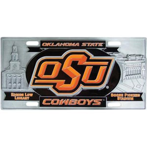 "MLB License Plate - Oklahoma St. Cowboys - Our collegiate license plates feature exceptional 3D carved zinc with a hand enameled finish. Made for your automobile but also great to display at work or home. 11 3/4"" X 5 13/16"" Thank you for shopping with CrazedOutSports.com"