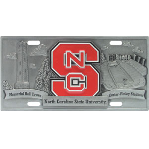 "College License Plate - NC St Wolfpack - Our collegiate license plates feature exceptional 3D carved zinc with a hand enameled finish. Made for your automobile but also great to display at work or home. 11 3/4"" X 5 13/16"" Thank you for shopping with CrazedOutSports.com"