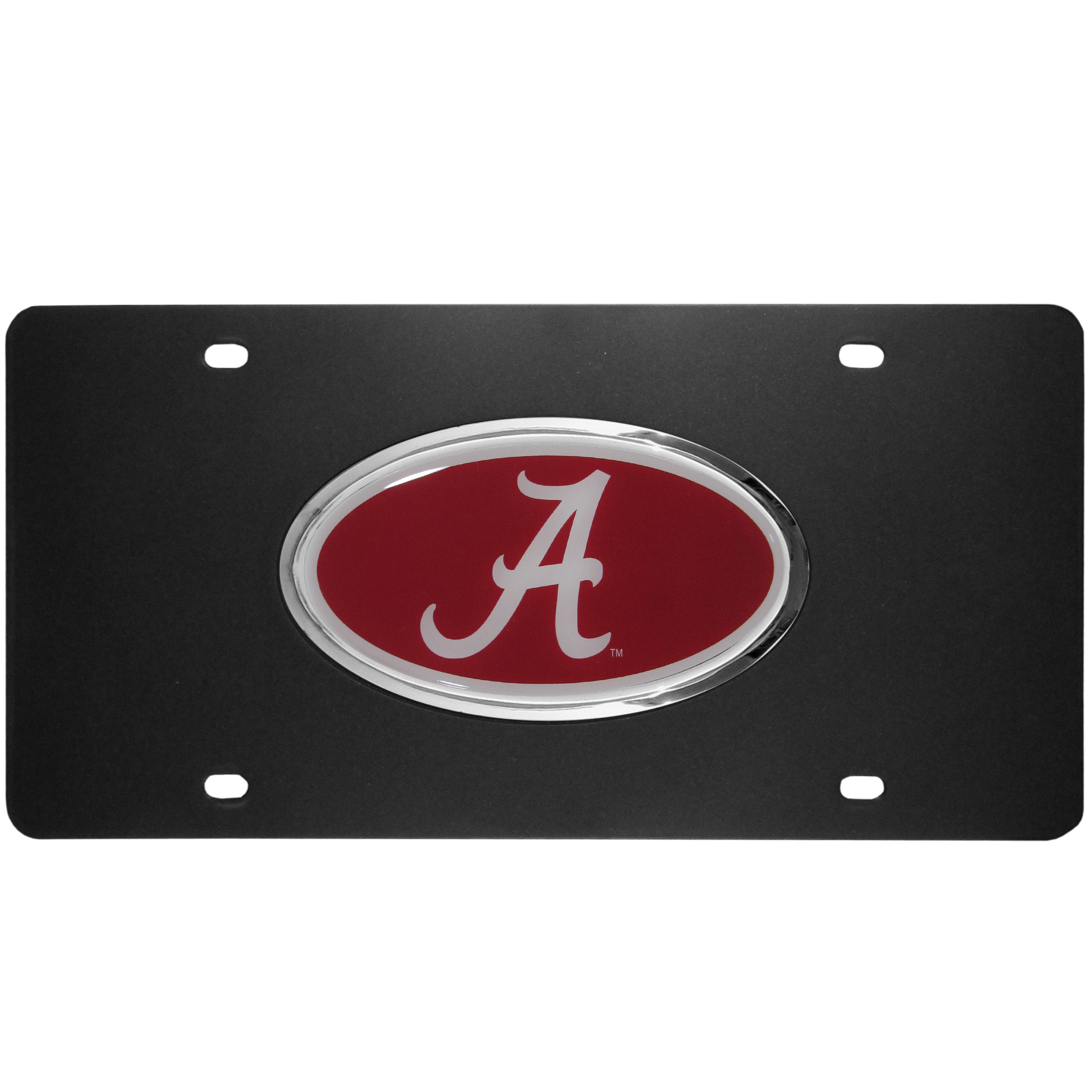 Alabama Crimson Tide Acrylic License Plate - Our Alabama Crimson Tide acrylic license plate is a step above the rest. It is made of thick, durable acrylic with a matte black finish and raised chrome saddle for the extra large team emblem.
