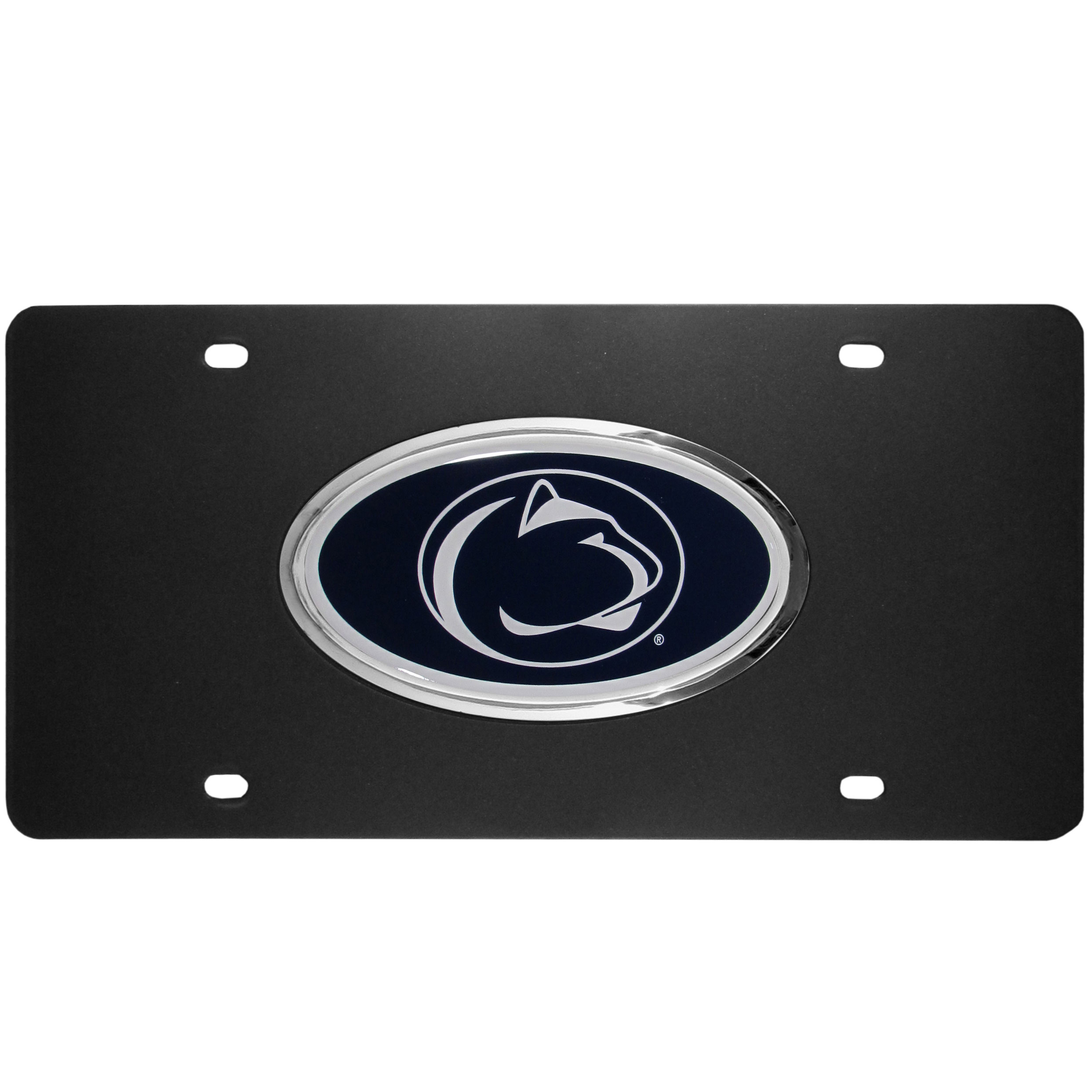 Penn St. Nittany Lions Acrylic License Plate - Our Penn St. Nittany Lions acrylic license plate is a step above the rest. It is made of thick, durable acrylic with a matte black finish and raised chrome saddle for the extra large team emblem.