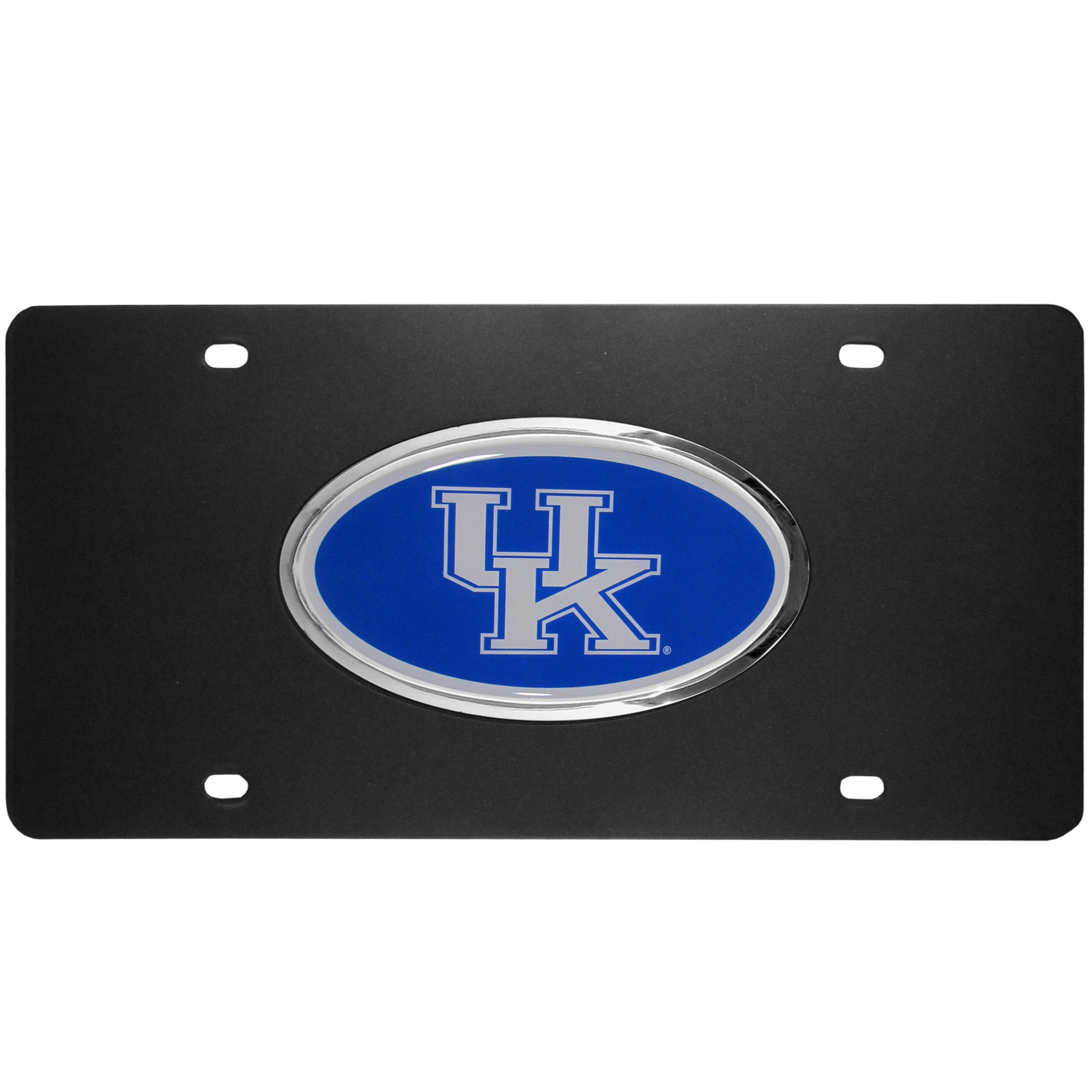 Kentucky Wildcats Acrylic License Plate - Our Kentucky Wildcats acrylic license plate is a step above the rest. It is made of thick, durable acrylic with a matte black finish and raised chrome saddle for the extra large team emblem.
